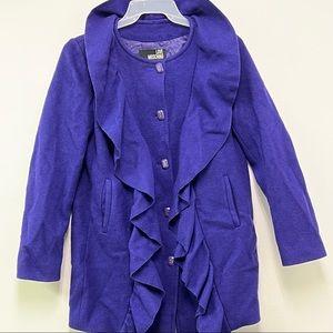 LOVE MOSCHINO Women's Wool Coat Ruffle Collar Royal Purple Diva Wear US 6 /UK 10
